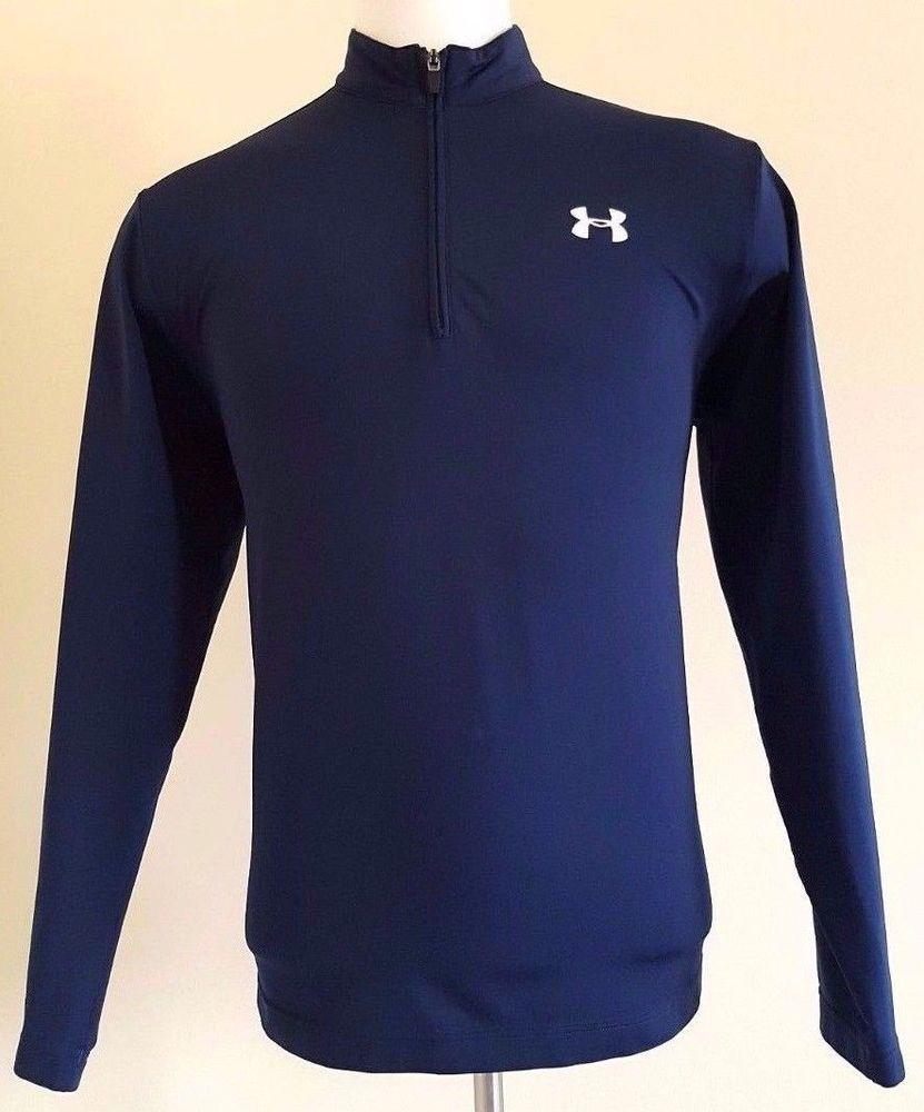 c342c84b6 UNDER Armour PULLOVER Large MENS Blue TOP 1/4 Zip SIZE Sz NAVY Logo FLEECE  Man** #UnderArmour #ShirtsTops