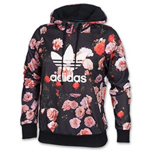 adidas women pullover floral pint hoddie sweater size larg. Black Bedroom Furniture Sets. Home Design Ideas