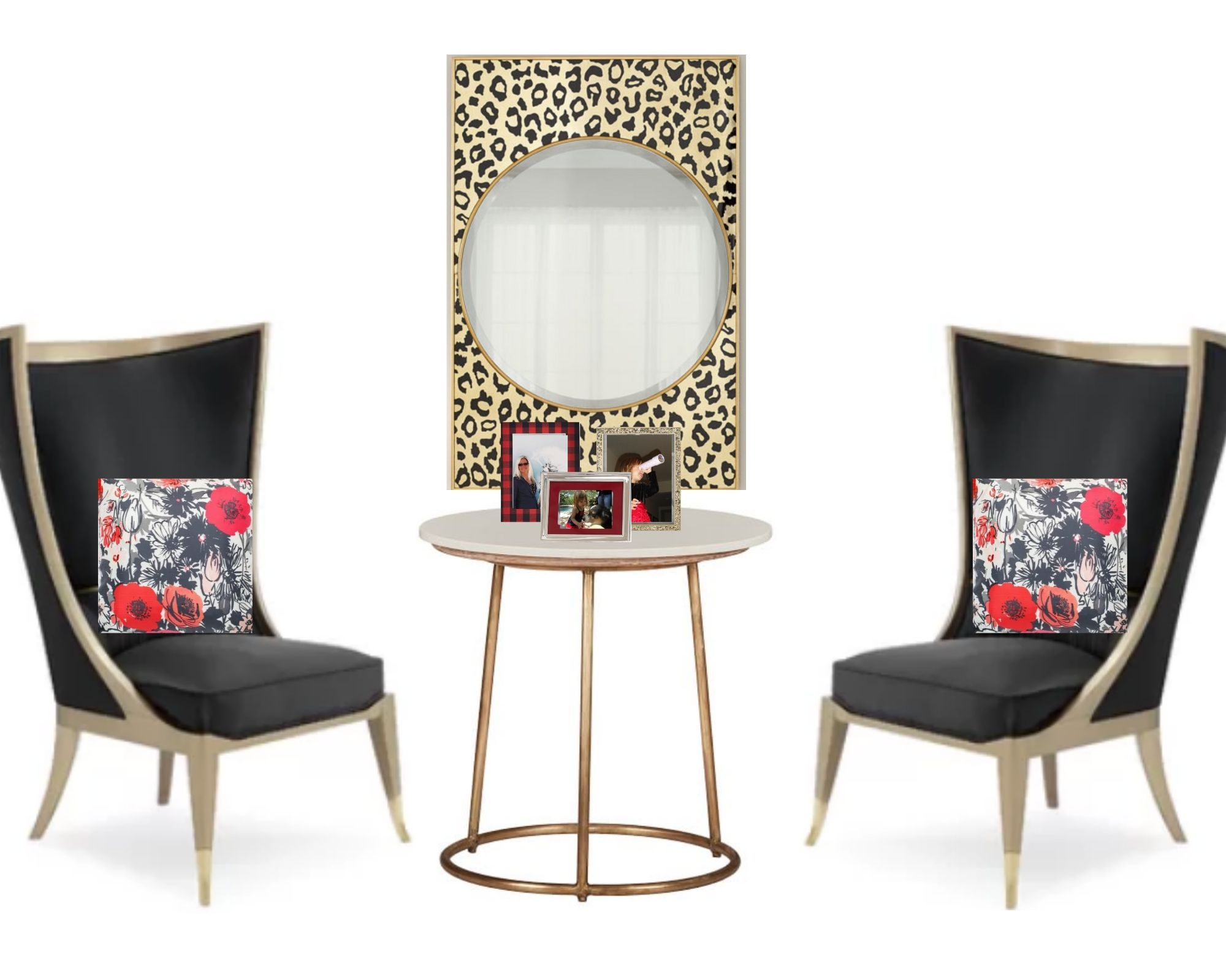 This inspirational mood board features a modern sitting area design with pops of red, floral and leopard print  #homedecor #interiordesign #interiordecorating #sittingroom #interiordecorideas