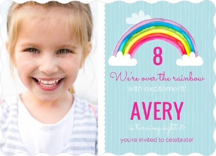 Childrens Rainbow Party Invitations