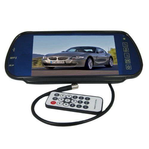 """7"""" TFT LCD Color Screen Car Rear View Mirror Monitor 2 AV Input and 2 Channel Stereo Audio Output(FM), Support Playing Video or Audio Files From SD Card and USB Flash Disk by SecurityIng. $48.85. Parking rear view priority: The monitor will start up automatically, and synchronously display the video from rear view camera when you're backing your car; the monitor will close itself after backing.  Scenes will cut to rear view camera automatically while you're backing the car an..."""