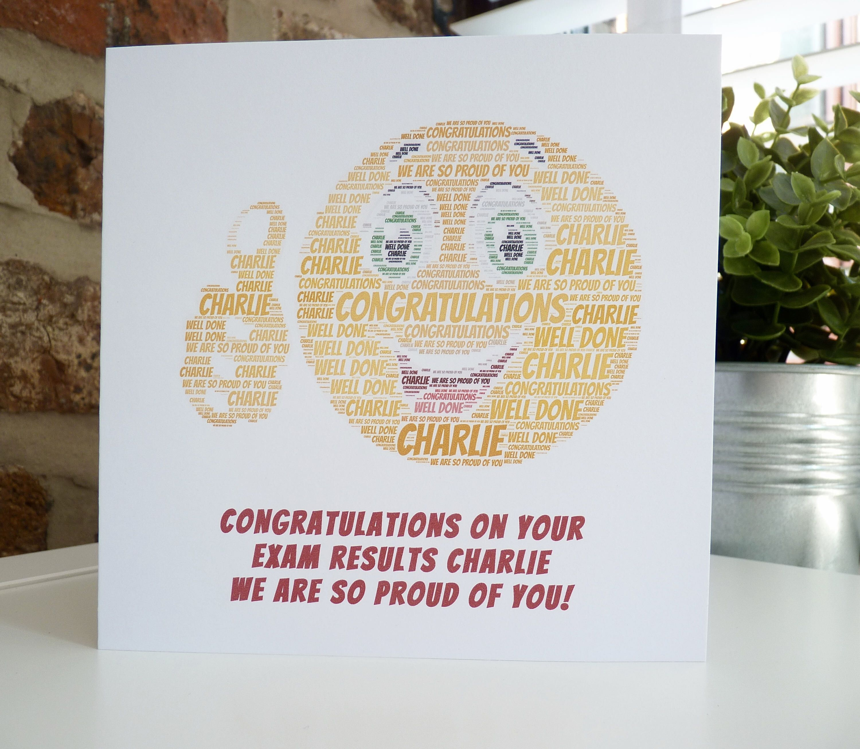 Personalised Exam Congratulations Card Personalised Thumbs Up Card