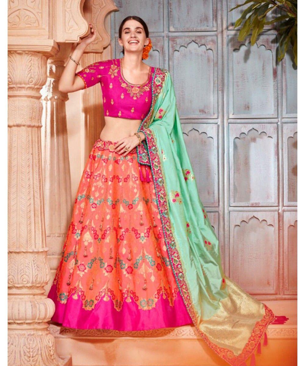 faec0c71a8 Banarasi Silk Lehenga Choli | India USA UK Canada | Lehenga Choli in ...