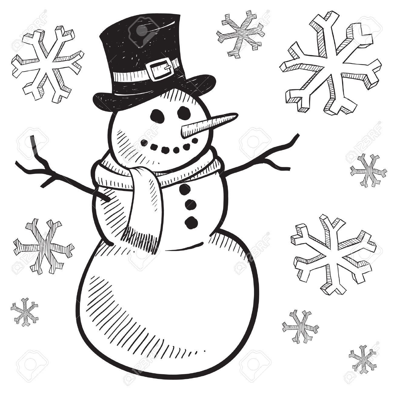 11670362-Doodle-style-holiday-snowman-illustration-Stock ...