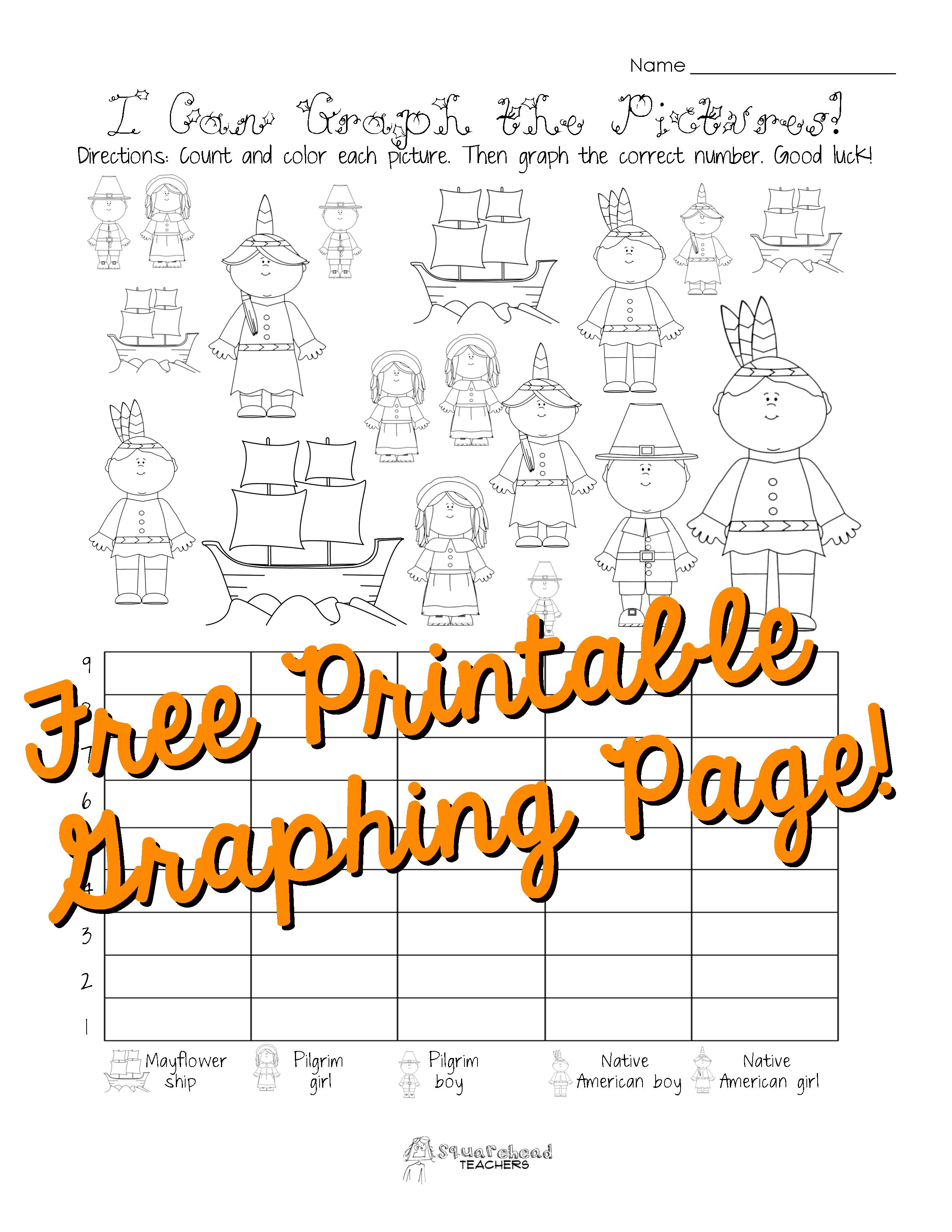 Free Thanksgiving Graphing Worksheet Kindergarten First