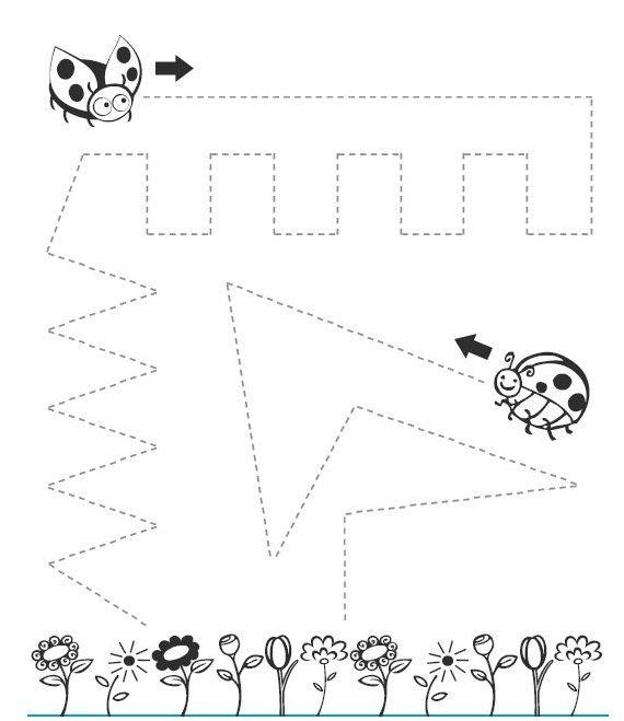 ladybug trace line worksheet   Crafts and Worksheets for Preschool ...