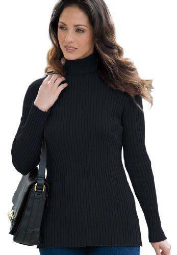 15091195b Jessica London Women s Plus Size Turtleneck Sweater With Ribbing  Black