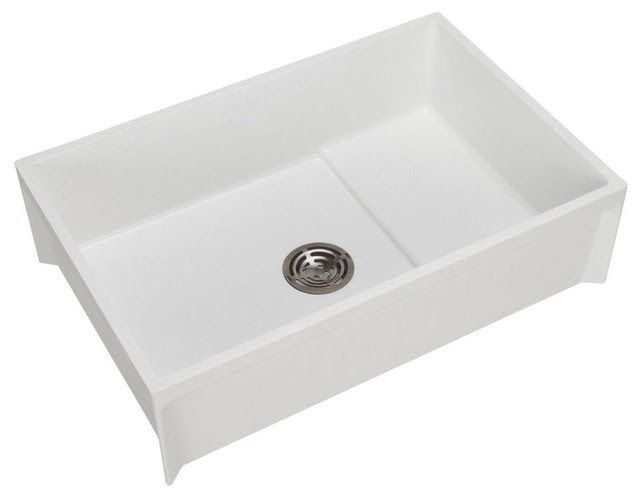 The FIAT Modesto 24 In. X 36 In. Molded Stone Floor Mount Mop Service Basin  In White Features A 9 1/2 In. Deep Basin With A 5 Gallon Capacity That  Helps ...