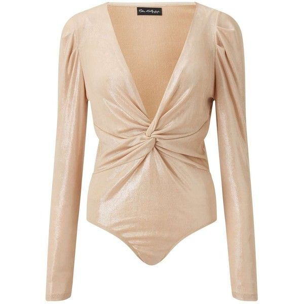 Miss Selfridge PREMIUM Metallic Twist Front Body (€54) ❤ liked on Polyvore featuring tops, gold color, holiday party tops, metallic top, gold metallic top, party tops and twist front top