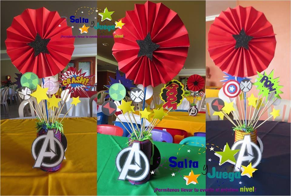 Centro De Mesa Tema Avengers Saltayjuega Centerpiece Decoracion