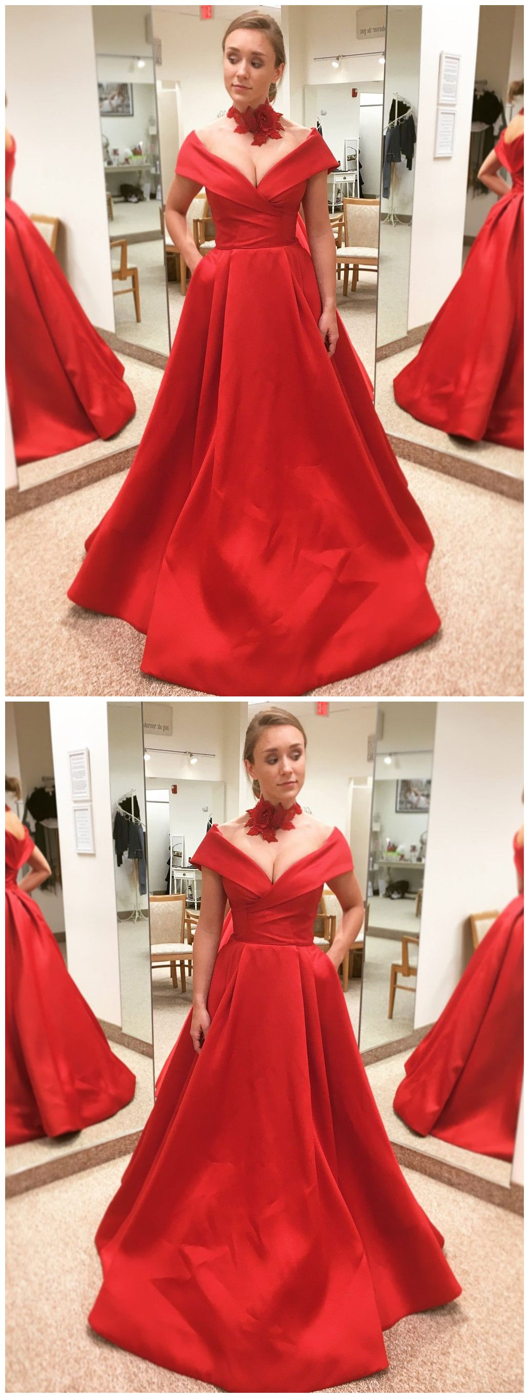 prom dress aline red offtheshoulder simple satin long prom
