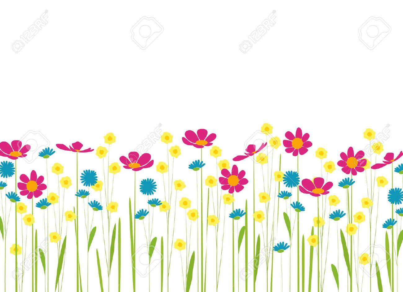 Flores Horizontales Dibujos Animados Patrón De Fondo: Prado Con Flores De Colores De Dibujos Animados