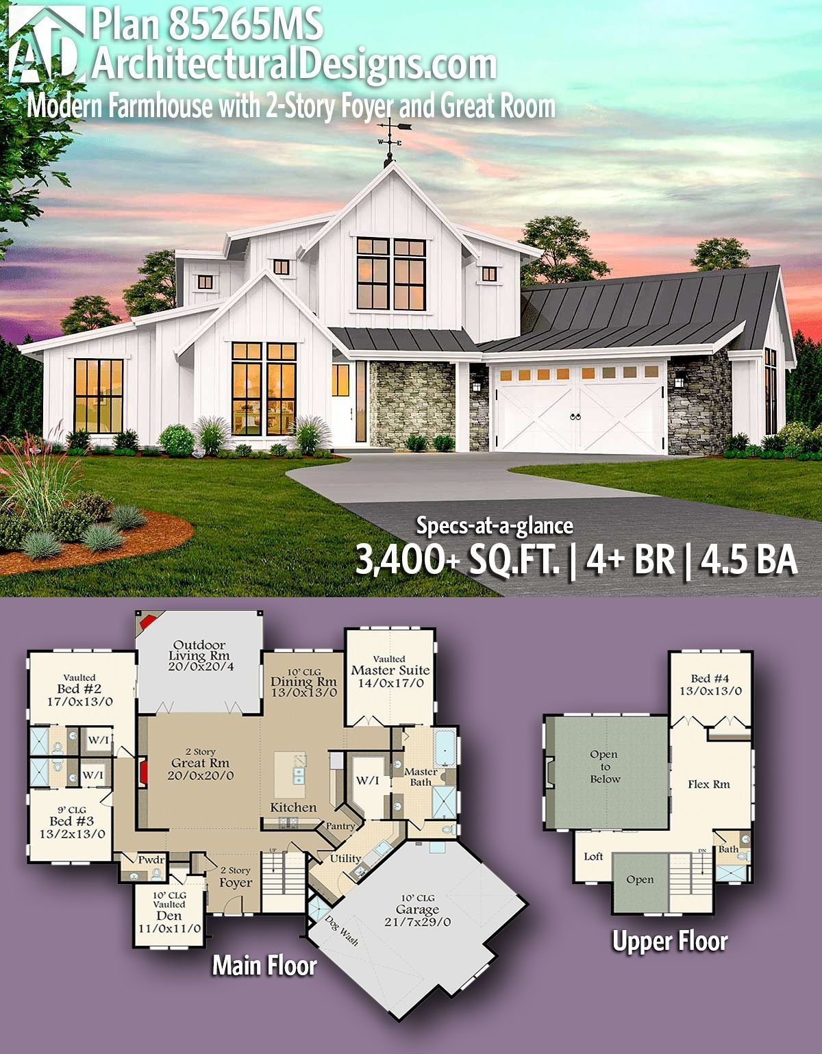 Introducing Architectural Designs Modern Farmhouse Plan 85265MS with 4  Bedrooms | 4 full baths and 1 half bath in just over 3,400  Sq Ft. with a finished walkout basement. Ready when you are! Where do YOU want to build?  #Modernfarmhouse