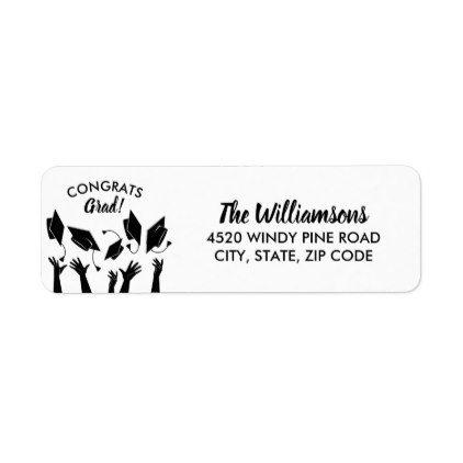 graduation cap congratulations grad custom address label in 2018