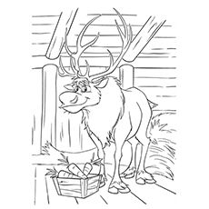 Kuvahaun tulos haulle frozen coloring pages | Reindeer drawing ... | 230x230