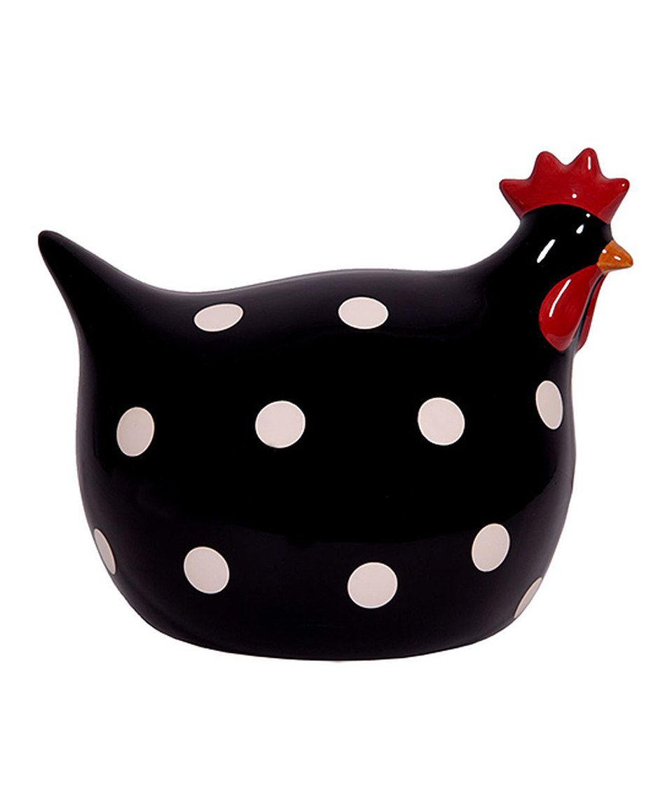 Black white polka dot ceramic chicken figurine by home for Black and white polka dot decorations