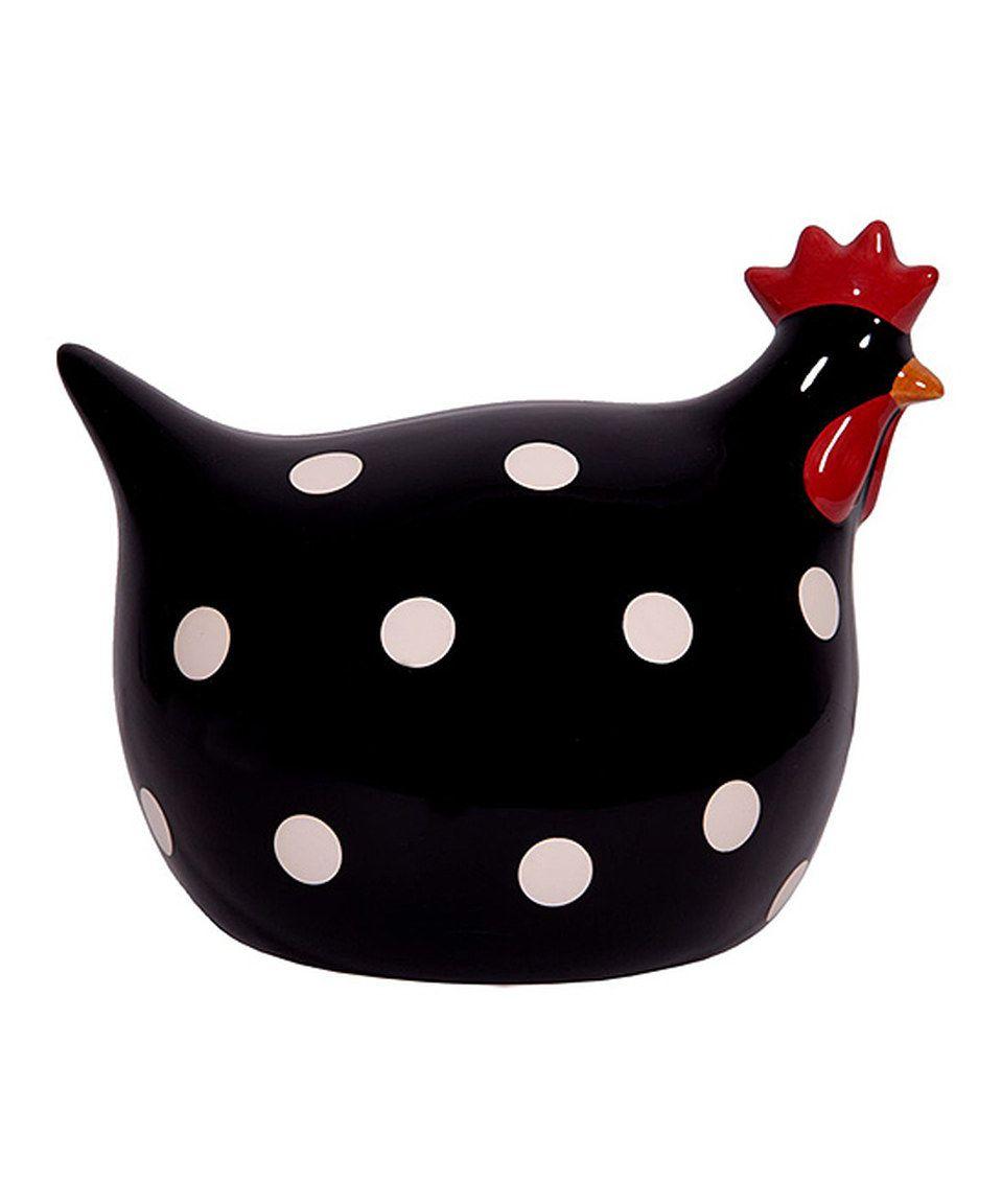 Black white polka dot ceramic chicken figurine by home for Black and white polka dot decorations