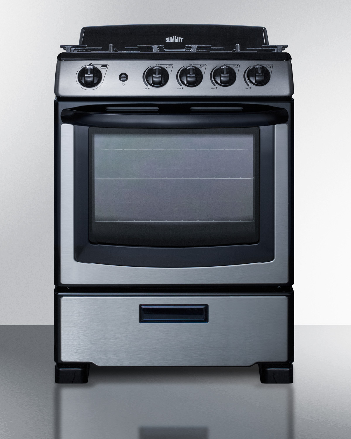 Summit 24 Freestanding Natural Gas Range Stainless Steel Pro247ss Oven Racks Iron Heights Stainless Steel