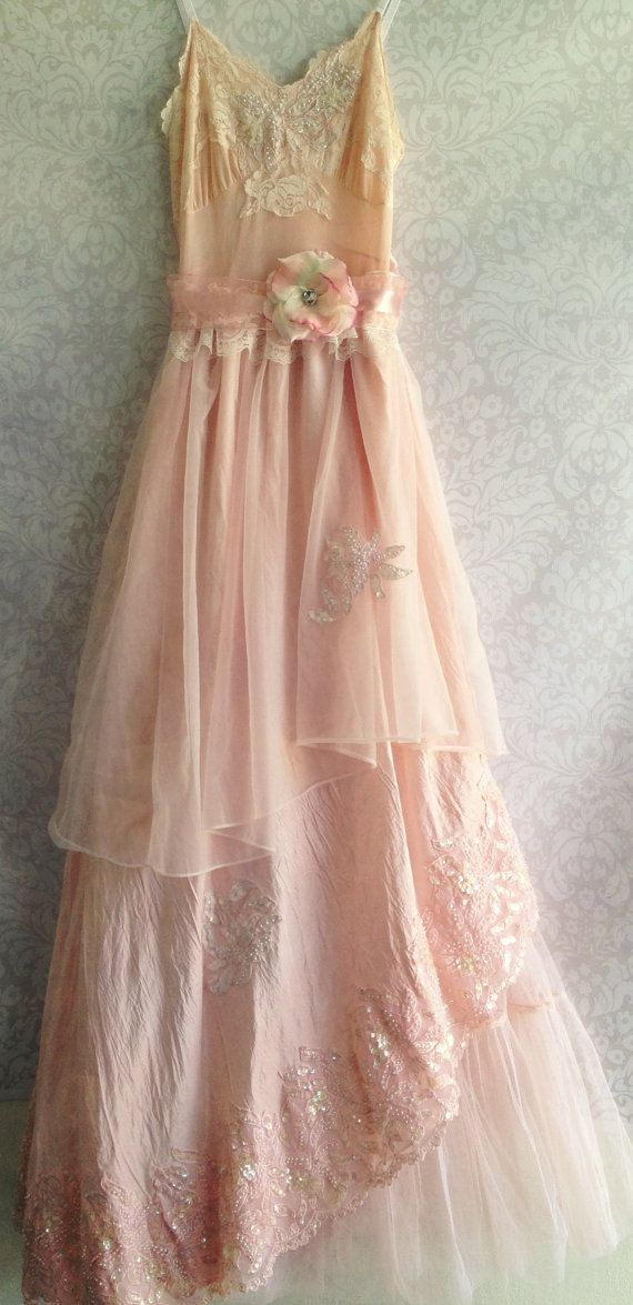 Peach  Cream Off Beat Wedding Dress...mimi loves this wedding dress...I would use vintage decoration and wear a circle of flowers in your hair and lots of pearls