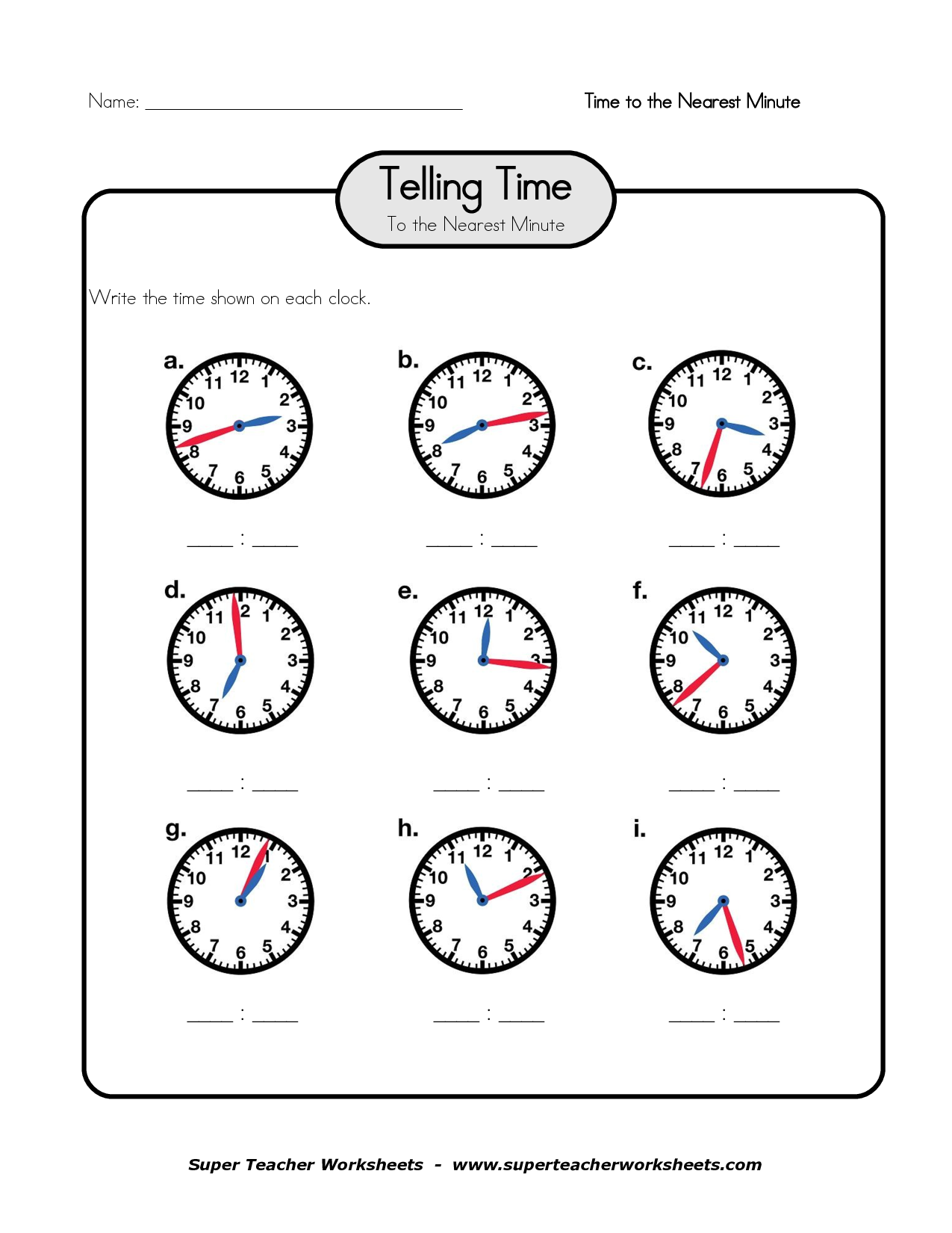 Printable Worksheets For Telling Time