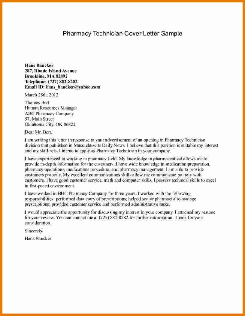 27 Pharmacy Technician Cover Letter Cover Letter Sample Letter Sample Lettering
