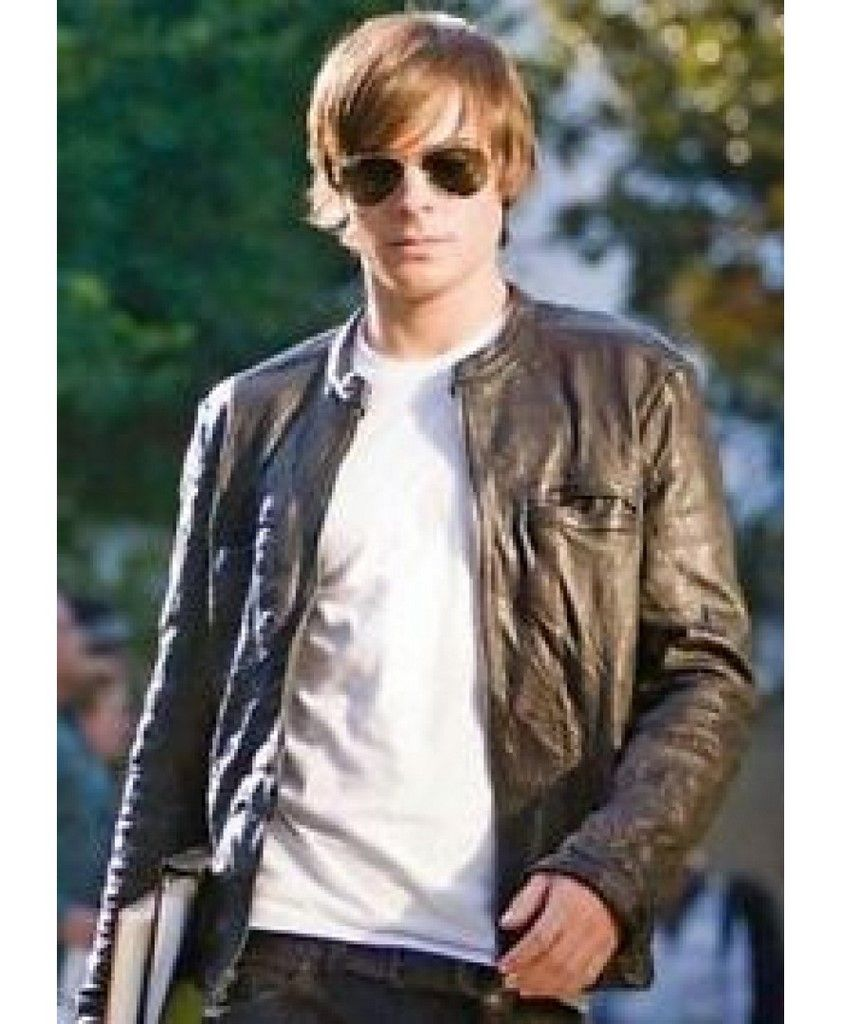 17 Again Zac Efron Moto Black Leather Jacket For Mens