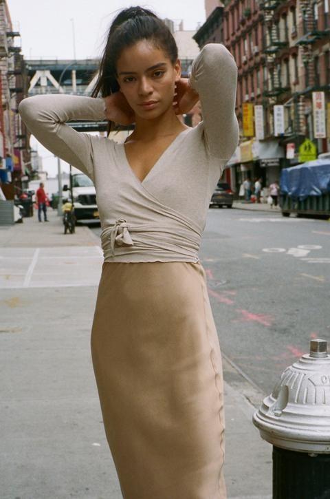 Champagne silk slip skirt midi Gold beige stretch silk satin | Etsy