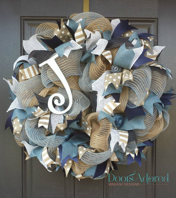 Denim Wreath  Denim and Mesh Burlap Wreath  Denim by DoorsAdored