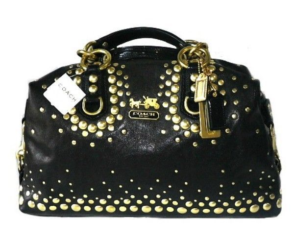 Rare Coach Madison Gold Studded Black Leather Lg Sabrina Tote Bag Purse Satchel Handbagpursesatchelsatchelshoulderbagtote