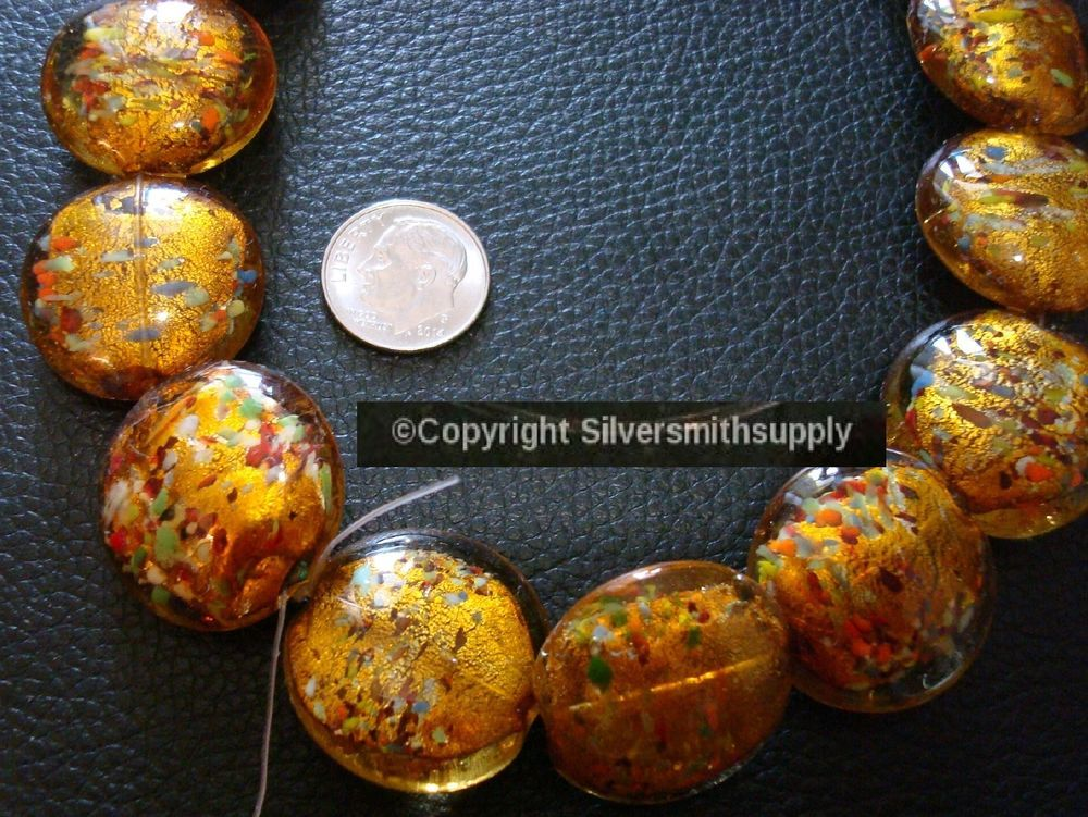 24mm Gold foiled multicolor art glass lampwork beads approx 17 pcs per st gbs075 #Silversmithsupply #Lampwork