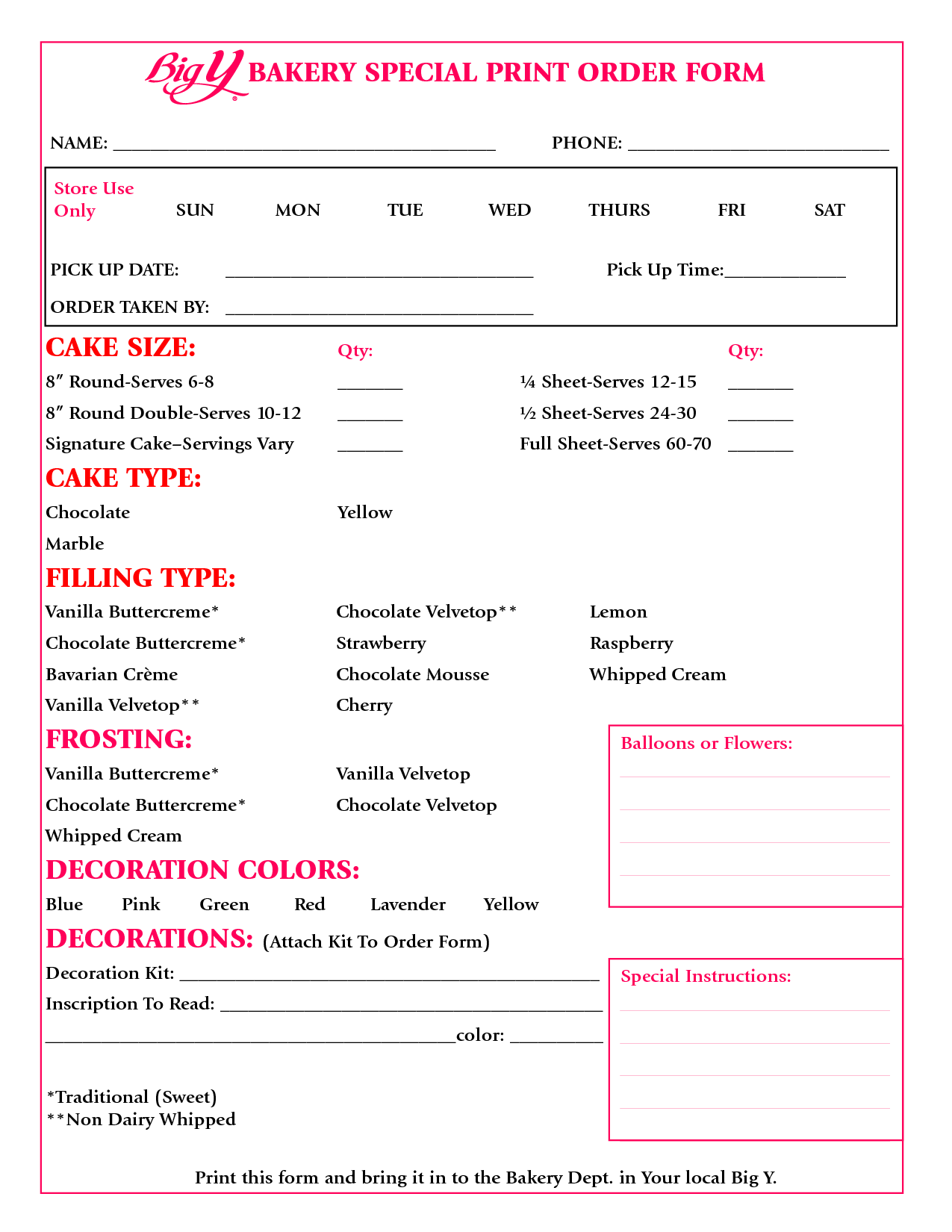 Cake Order Form Google Search Cupcake Creations In 2019