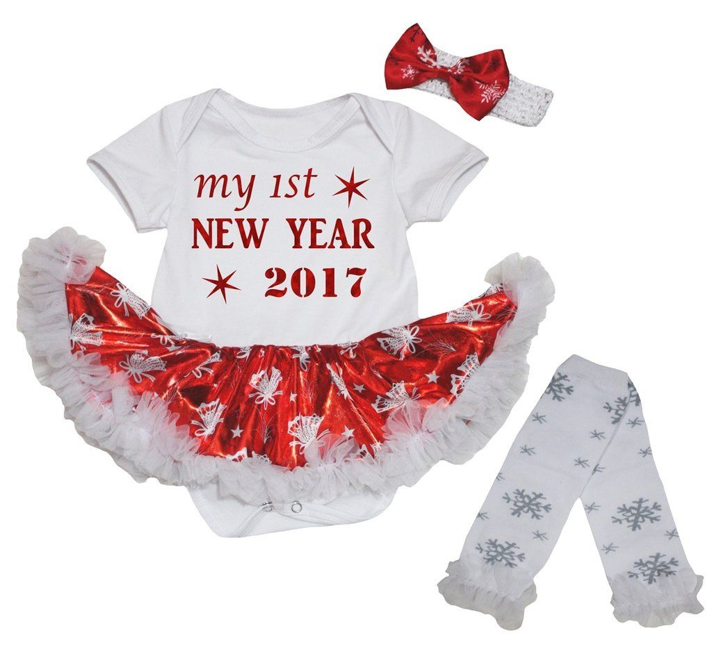 Petitebella My 1st New Year 2017 White Shirt Snowflake Red Skirt Set 1-8y