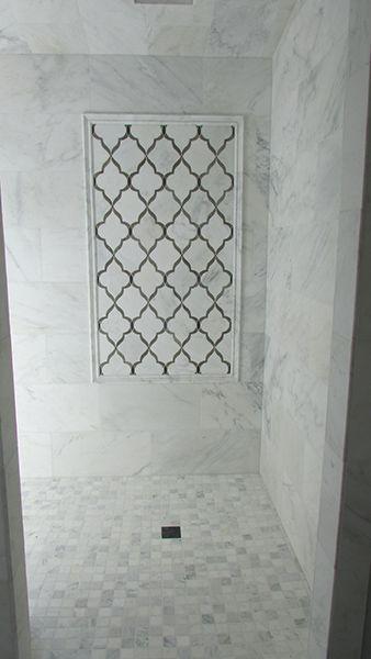 Tiled Shower W Accent Frame Featuring Walker Zanger S