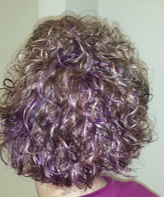 Up Do Brown Curly Hair With Blonde Purple Highlights Underneath Is Purple Curly Hair Styles Brown Curly Hair Blonde Hair With Bangs