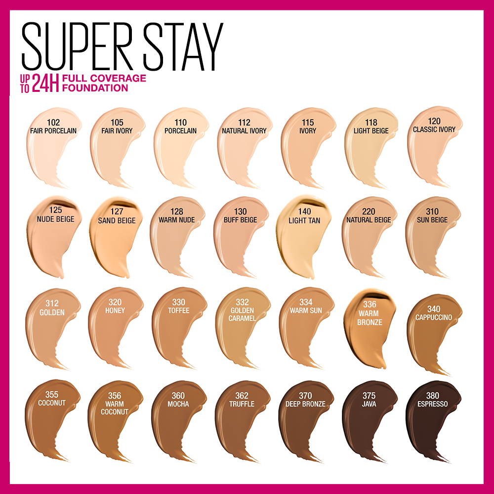 Maybelline Super Stay Full Coverage Foundation | Ulta Beauty | Maybelline  super stay, Skin tone makeup, Foundation shades