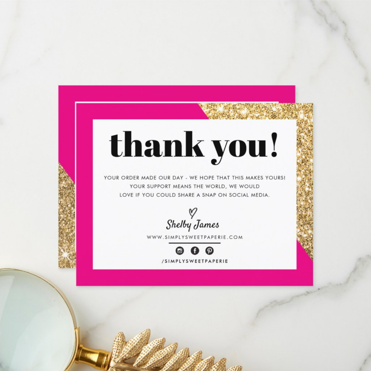 Business Thank You Chic Glam Gold Bright Pink Logo Zazzle Com In 2021 Business Thank You Notes Thank You Customers Business Thank You