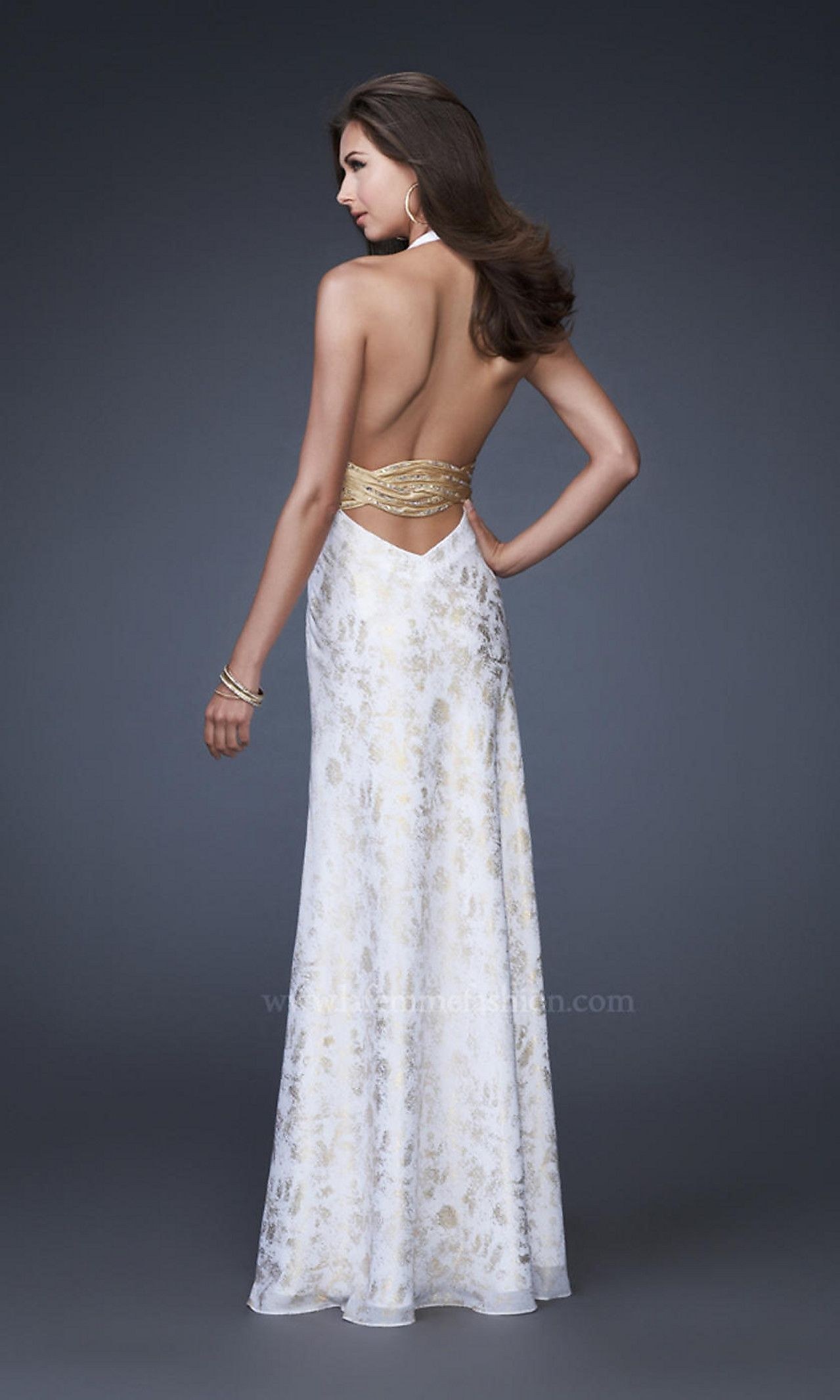 WHITE & GOLD LOW OPEN BACK EVENING GOWN | These Are a Few of My ...