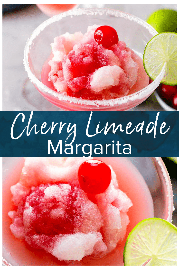 Frozen Cherry Limeade Margarita #frozenmargaritarecipes Cherry Limeade Margaritas are the perfect summer cocktail. This frozen margarita recipe is tart, tangy, and DELICIOUS! The perfect frozen limeade margarita recipe with a cherry twist. Such a fun recipe for happy hour with friends! #thecookierookie #margaritas #frozenmargaritas #cherrylimeade #summerrecipes #cocktails #frozenmargaritarecipes