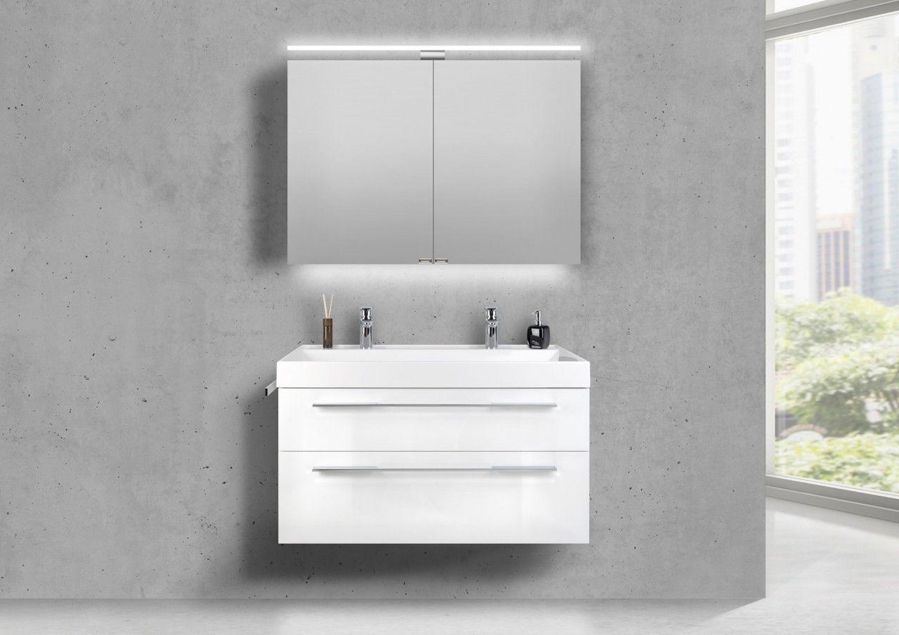 Doppelwaschtisch 100 Cm Badmobel Set Barcelona Mit Led Spiegelschrank Mit Bildern Doppelwaschtisch Spiegelschrank
