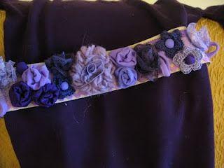 cintura con fiori vari in lana e stoffa parte davanti