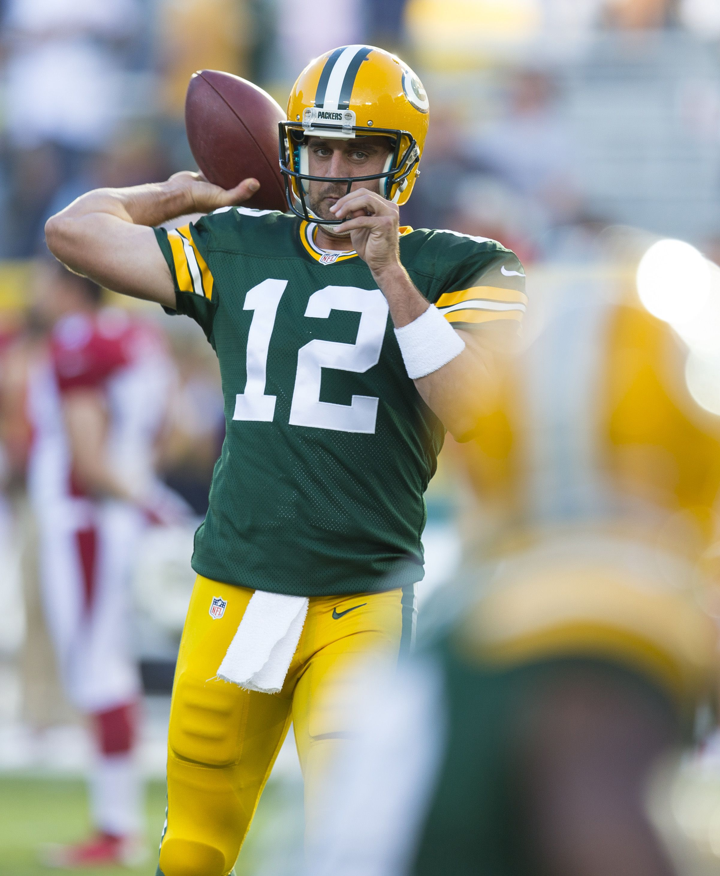 Green Bay Packers Quarterback Aaron Rodgers Throws A Pass During Warmups Prior To The Game Against The Arizona Cardinals At Arizona Cardinals Green Bay Packers