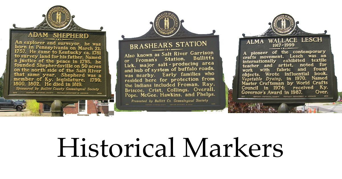 Bullitt county has 17 historical markers which identify
