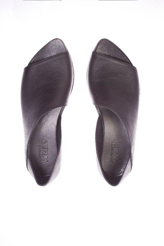 Black Flat Evening Shoes Slip On Shoes Classy Women Shoes Size