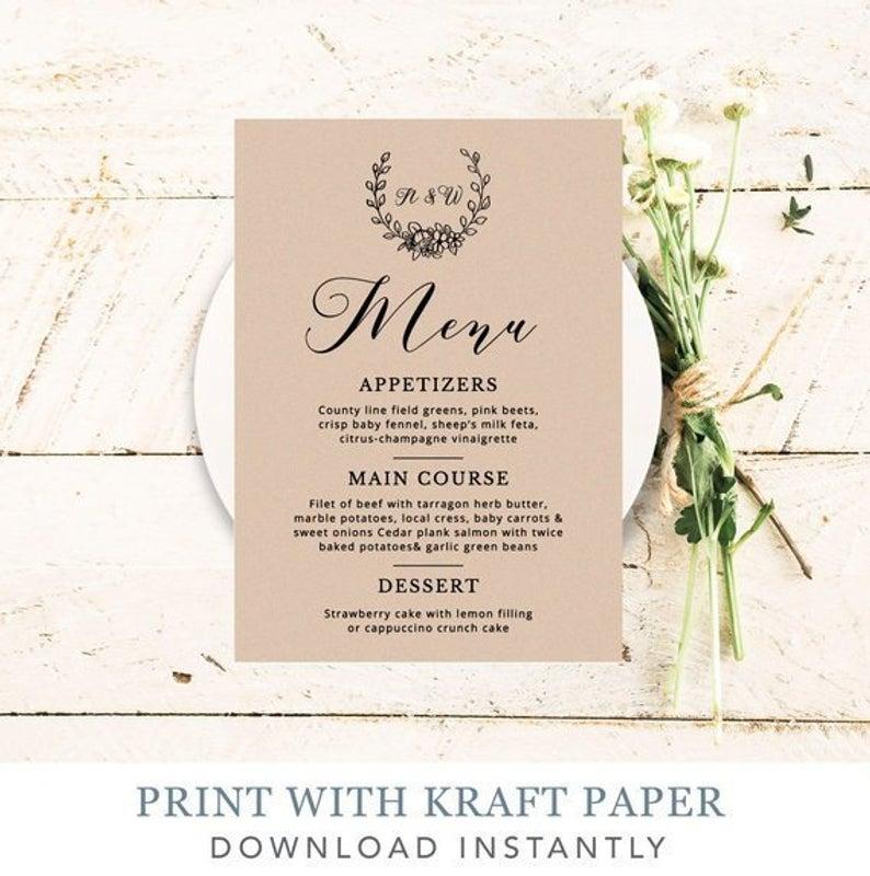 Wedding Menu Printable Wedding Calligraphy Menu Modern Menu Template Instant Download Kraft Menu Car #weddingmenutemplate