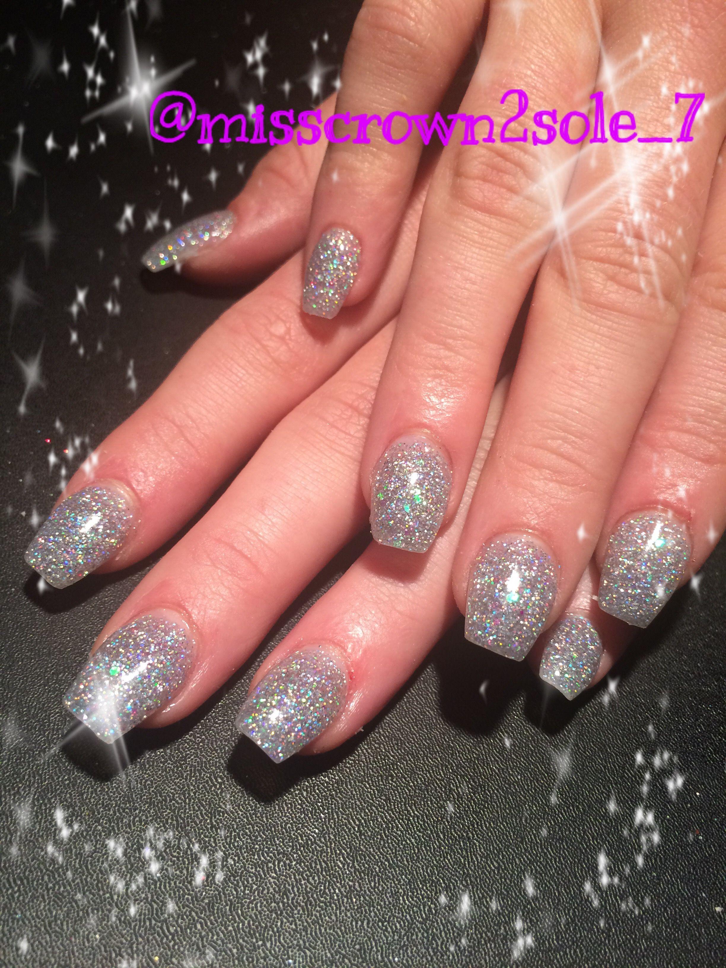 Pink and silver nails - Prom Nails Acrylic Nails Custom Glitter Nails Silver Nails Sparkle Shine Short Coffin Nails