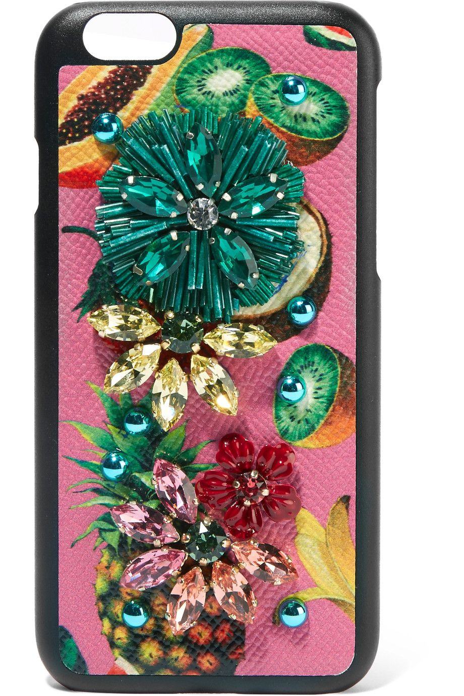 Dolce & Gabbana | Embellished printed textured-leather iPhone 7 case | NET-A-PORTER.COM
