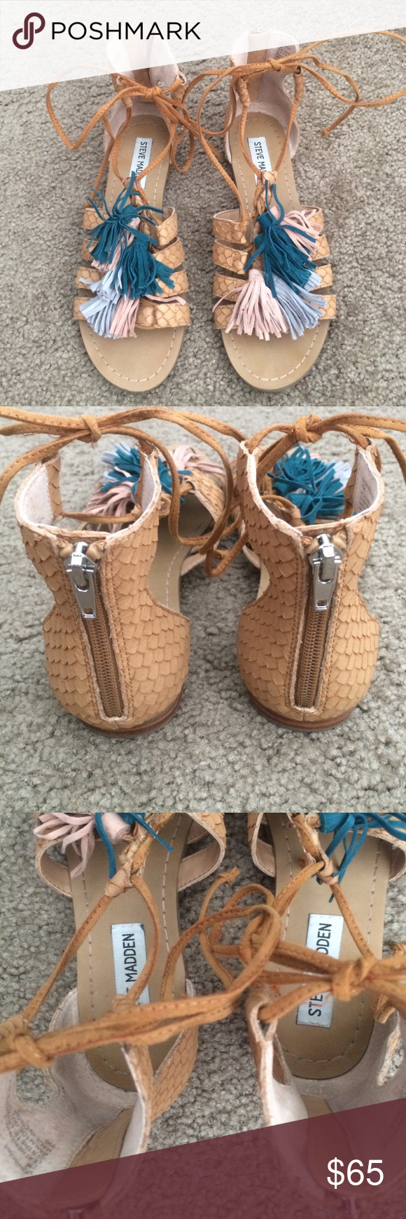 Steve Madden Tassel Gladiator Sandals Only worn maybe 2 times very excellent condition!! Tassels are teal, light pink and light blue. Perfect to spice up any outfit and very comfortable too. They can be laced up the ankle or just tied Steve Madden Shoes Sandals