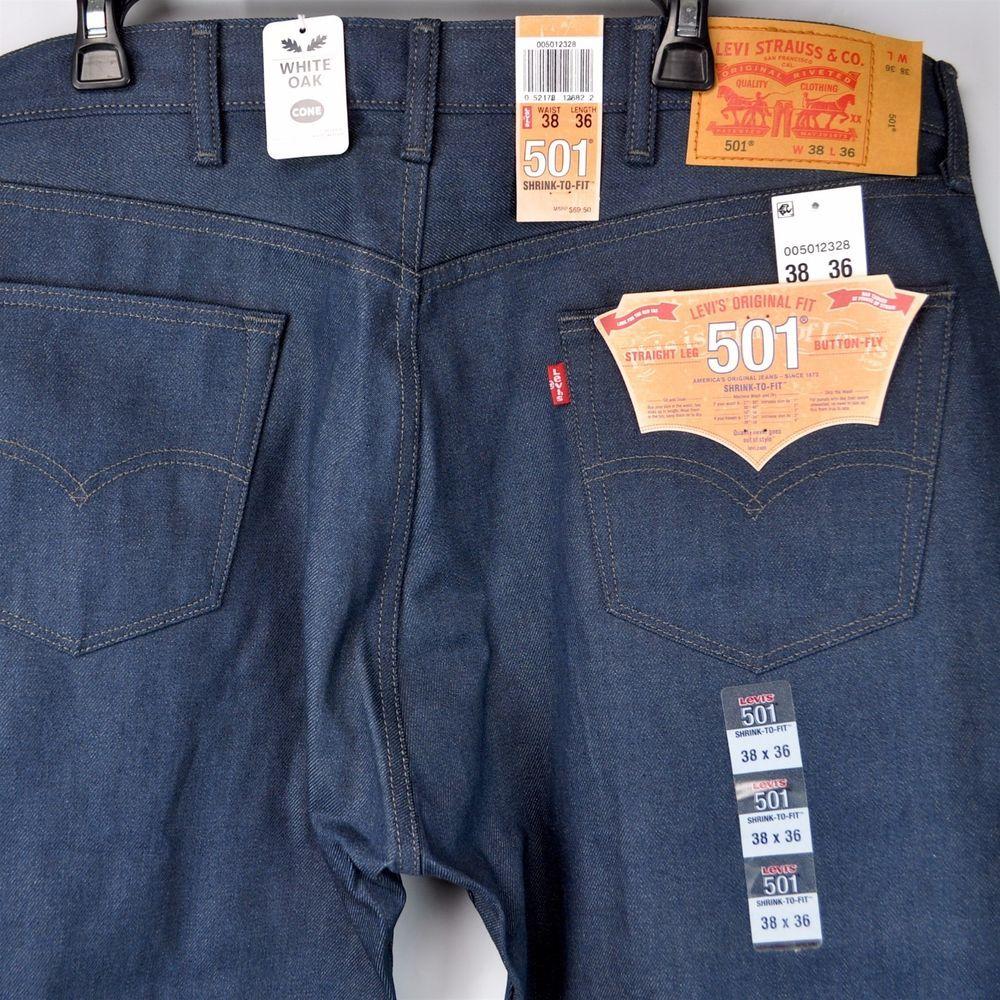 0b948d24 Levis 501 Neppy Dark Blue STF White Oak Cone Denim Jeans 38 x 36 USA Plant  NWT #Levis #ClassicStraightLeg #neppy #501
