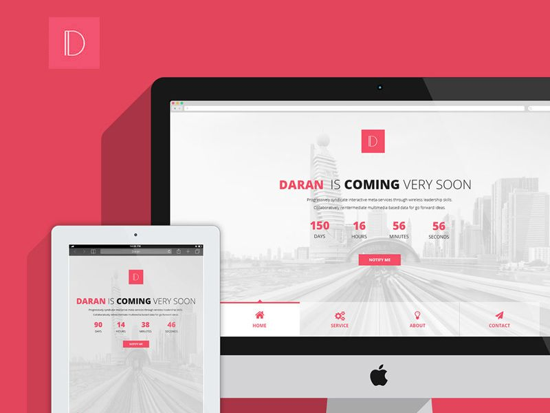 Daran is a modern, creative and minimalist Coming soon / Under construction #template