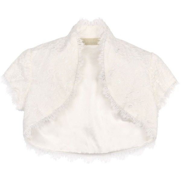 Nicole Miller Lace Bolero (615 BRL) ❤ liked on Polyvore featuring outerwear, jackets, bolero, tops, cardigans, ivory, lace bolero, white lace jacket, lace jacket and lace bridal jacket